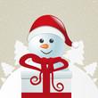 santa behind gift box white winter landscape