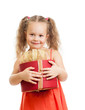 happy kid girl holding gift box
