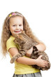happy child girl holding  cat isolated on white