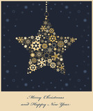 Christmas star from golden snowflakes