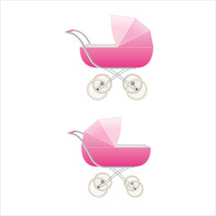 Set of two pink color high-detailed baby girl strollers