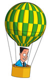 Businessman flying in balloon (EPS 10,includes transparency)