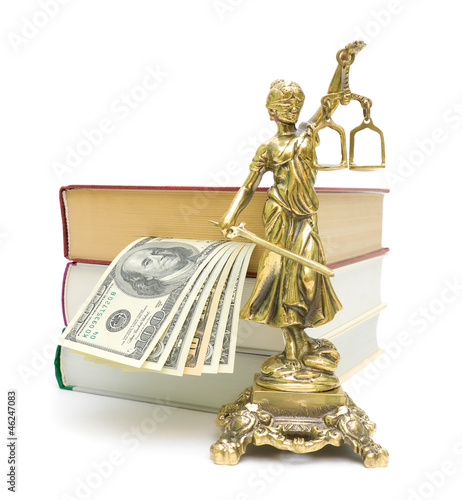 statue of justice, money and books on a white background