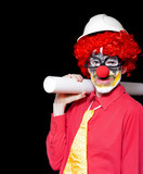 Male Architect Clown Holding Bad Construction Plan