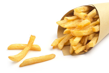 paper cone with fries on white background