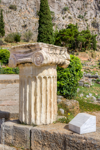 Column with Ionic capital in Delphi archaeological site, Greece