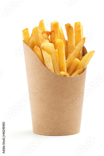 Deurstickers Picknick french fries in a paper wrapper