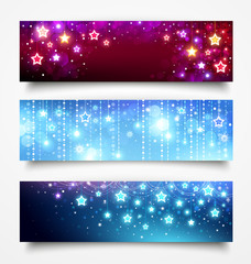 Christmas banners with stars.