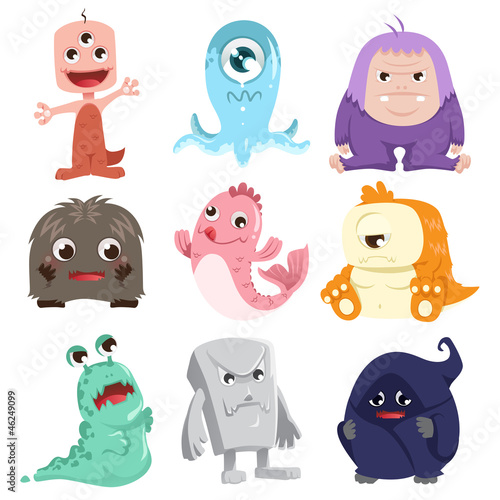 Spoed canvasdoek 2cm dik Schepselen Cute monsters characters