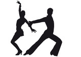Fototapety Silhouette of dancers Latin-American dances
