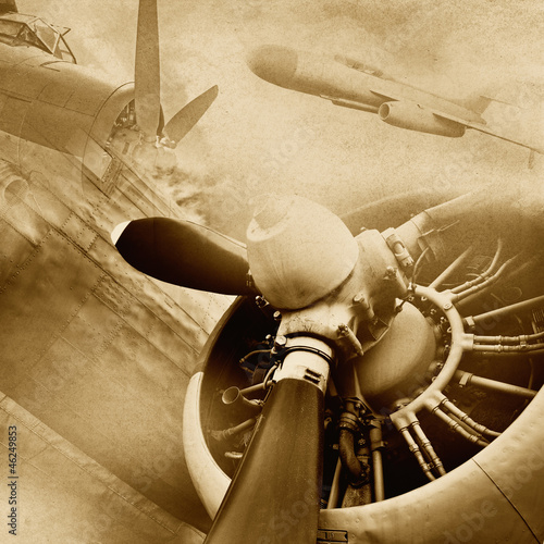 Sticker Retro aviation, vintage background