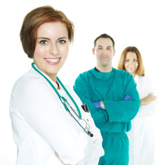 Team of doctors with operating surgeon