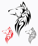 Tribal wolf tattoo - vector illustration