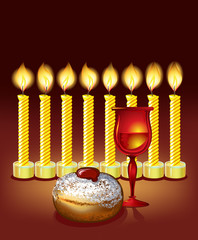 hanukkah background with candles, donuts, and wine glass