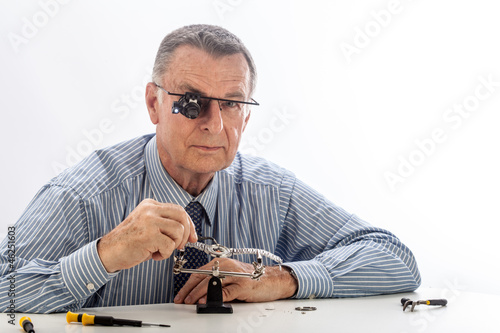 Watchmaker on White Background