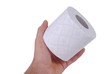 man hand with a toilet paper roll, isolated on white