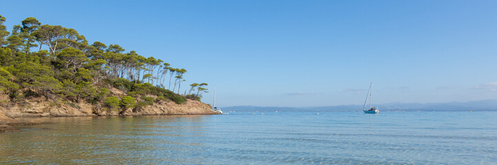 Panoramic view of Notre Dame beach in Porquerolles island