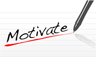 notepad paper with the word motivate written