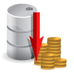 oil prices falling illustration design concept