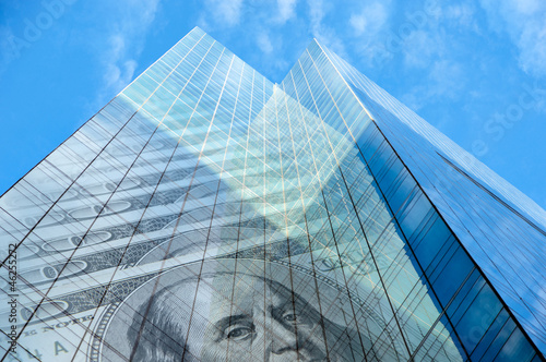 Office building with hundred dollar bills