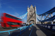 Tower Bridge with bus in London, England