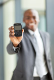 african american businessman with a smart phone