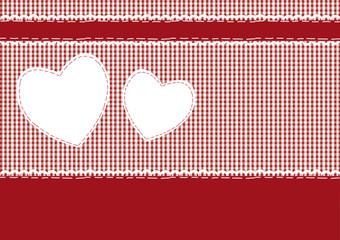 Karte, Karo rot mit Herzen