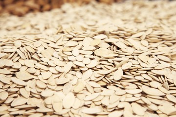 Pumpkin seeds for sale in supermarket