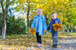 Young Children with Autumn Leaves