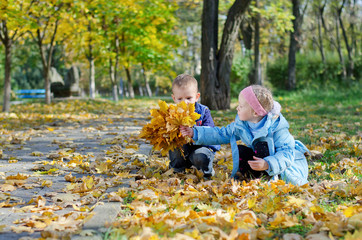 Liitle girl showing her brother her leaves