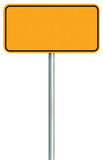 Blank Yellow Road Sign Isolated, Large Warning Copy Space