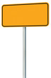 Blank Yellow Road Sign Isolated, Large Perspective Warning Copy