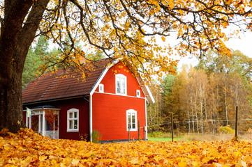 Altes rotes Holzhaus in Schweden im Herbst