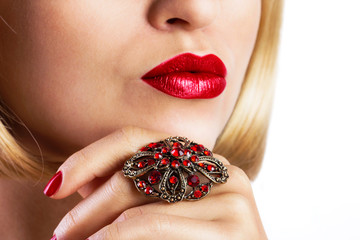 Red lips with ring