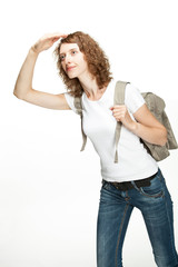 Attractive young woman with rucksack