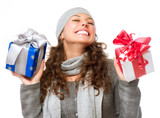 Fototapety Happy Young Woman With Christmas Gifts. Gift Box