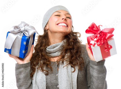 Happy Young Woman With Christmas Gifts. Gift Box
