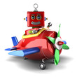 Happy toy robot in plane over white background