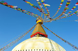 Bodnath stupa with prayer flags in Kathmandu