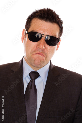 Frowny Faced Suit Man with Sunglasses