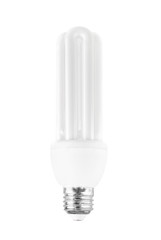 Energy saving light bulb on white bakground