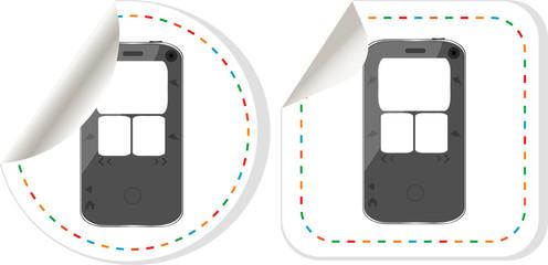 Black smartphone stickers label set