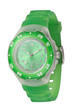 A women wristwatch with green silicone strap