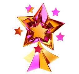 set of seven shiny gold stars in motion