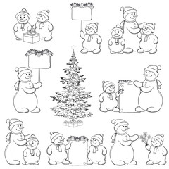Set snowman and Christmas tree, outline
