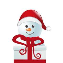 snowman behind gift box white isolated background