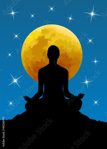 Vector illustration of yoga poses at moon background