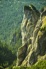 rocky landscape in Romanian Carpathian mountains