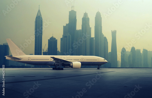 Airplane in front of a Skyline