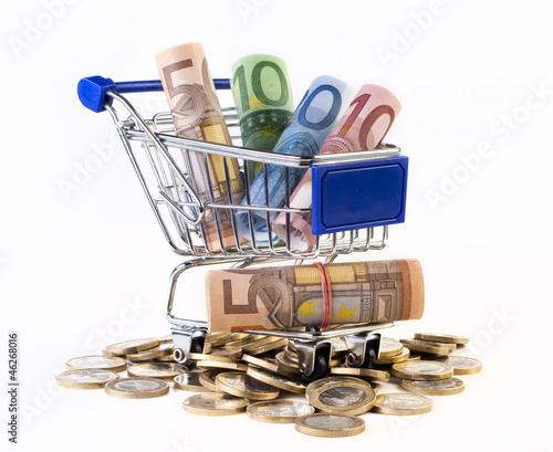 Haushaltsgeld - Euros im Einkaufswagen